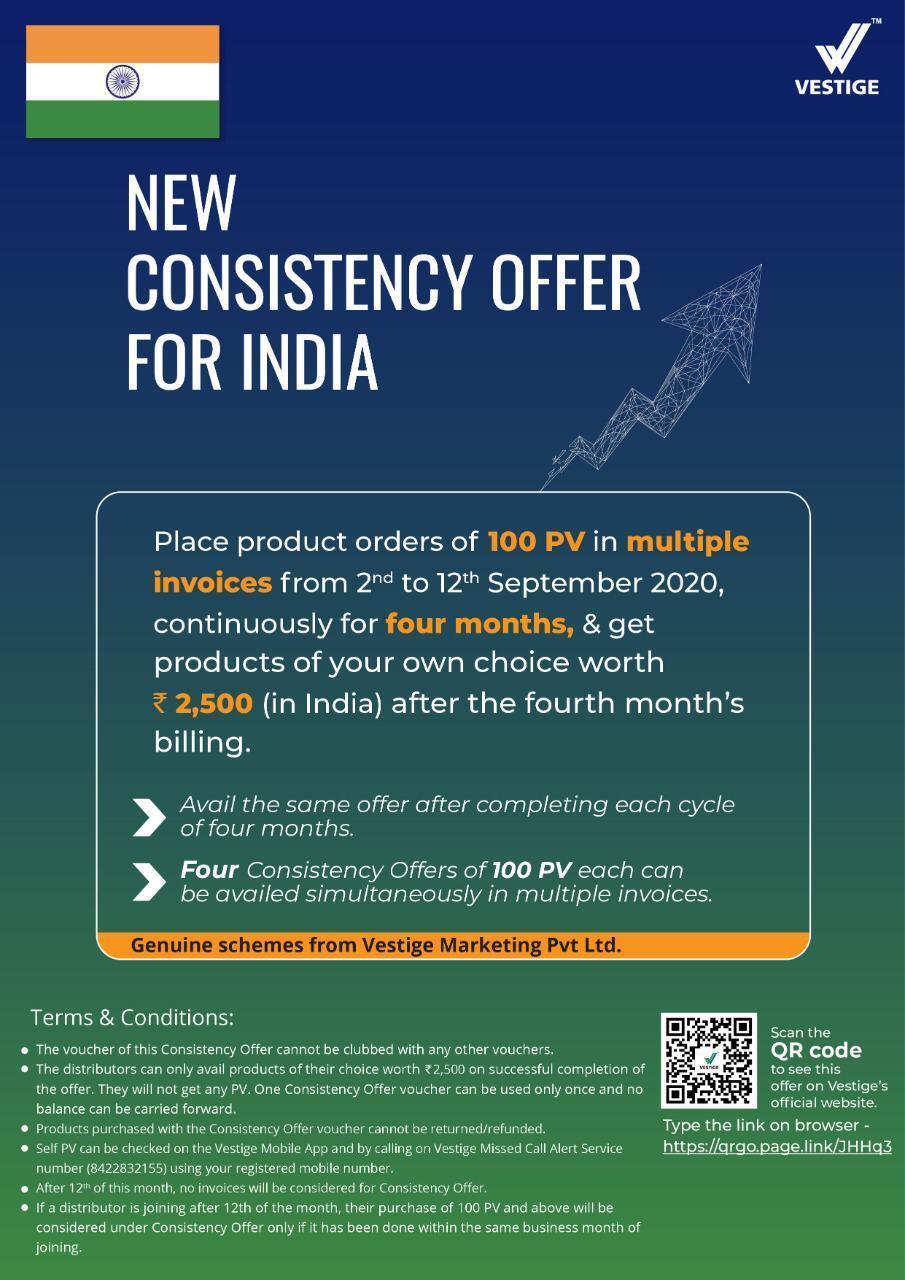 Vestige consistency offers 100 PV